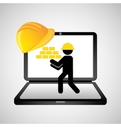 under construction web page worker brick wall vector image