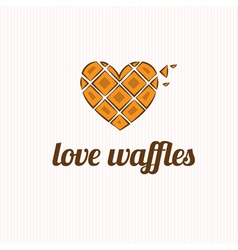 Waffles in the shape of heart vector