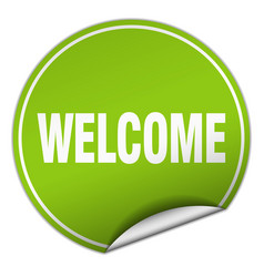 Welcome round green sticker isolated on white vector