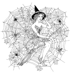 Witch with design cobwebs vector