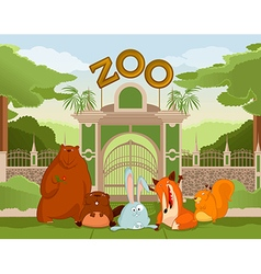 Zoo gate with animals 1 vector