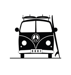 Surf vehicle with hippie sign on it in black vector