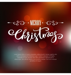 Template merry christmas card holiday lettering vector