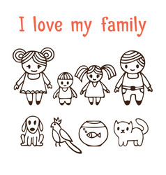 I love my family happy family with two children vector
