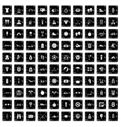 100 active life icons set grunge style vector