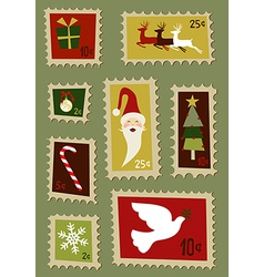 Christmas postage stamps set vector