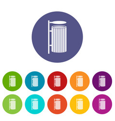 Public trash can icons set flat vector