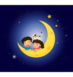 Children on the moon with a cat vector