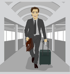 Businessman with briefcase and suitcase at airport vector
