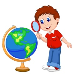 Cartoon boy using magnifying glass looking at glob vector