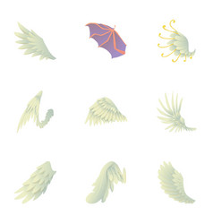 wings of angel and devil icons set cartoon style vector image