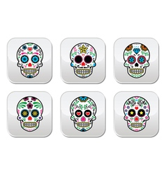 Mexican sugar skull buttons set color on black vector