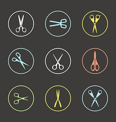 Different types of scissors vector image