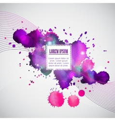 Business template with violet watercolor blots vector