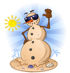 Sand snowman cartoon character vector