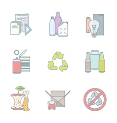 Color outline various waste recycle separate vector
