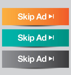 Colorful set of skip ad buttons vector