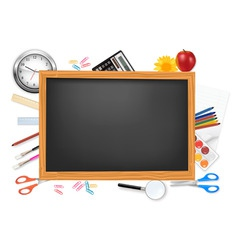 Desing of back to school on the black desk vector