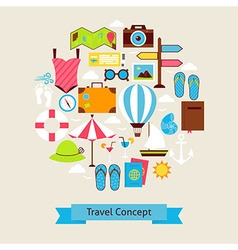 Flat style summer vacation and travel objects vector