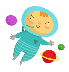 Kid astronaut isolated on white vector