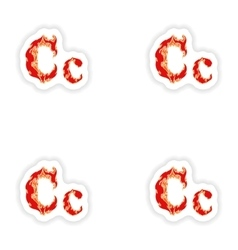 Assembly stickers fiery font red letter c on white vector