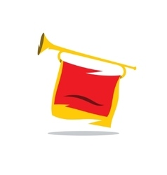 Trumpet with a Red Flag Cartoon vector image