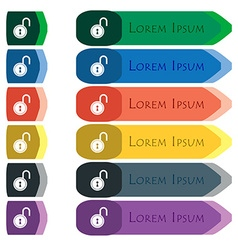 Open lock icon sign set of colorful bright long vector