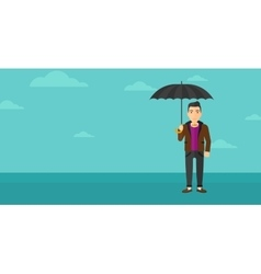 Businessman standing with umbrella vector