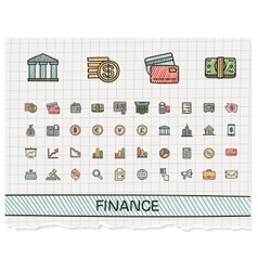 Finance hand drawing line icons doodle vector