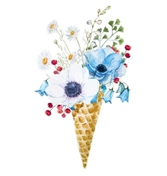 Wafer cone with flowers vector