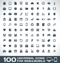 100 universal icons for web and mobile vector