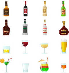 Alcohol Flat Icons vector image