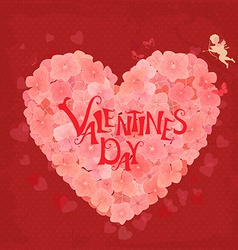 Banner with flower heart Happy valentines day vector image