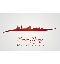Baton rouge skyline in red vector