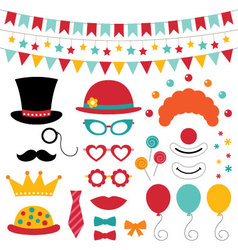 Circus photo booth props and decoration vector