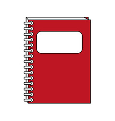 Color contour cartoon red notebook spiral closed vector