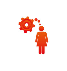 Colorful pictogram woman thought in a pinion vector