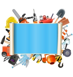 Construction scroll with tools vector