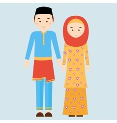 couple man woman wearing brunei islamic vector image