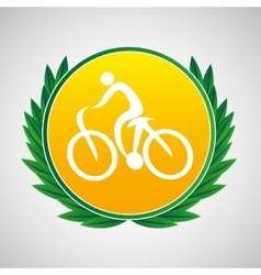 Cycling symbol label laurel wreaths vector