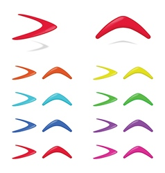 Different colors boomerangs vector