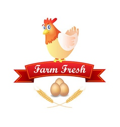 Emblem with Chicken and Red Ribbon vector image