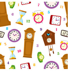 Flat clock types icon seamless pattern vector