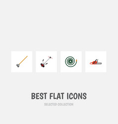 flat icon dacha set of hacksaw grass-cutter vector image vector image