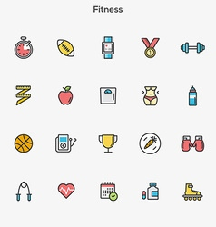 Flat line color icons Fitness vector image