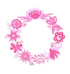 Floral pink wreath vector