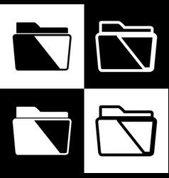 Folder sign black and white vector