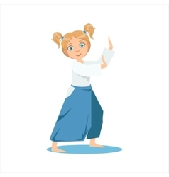 Girl with ponytails in wide trousers on karate vector