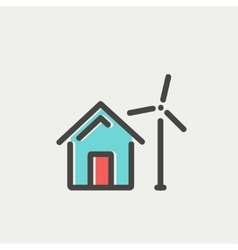 House with windmill thin line icon vector image
