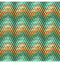 Knitted geometric pattern in orange and green vector